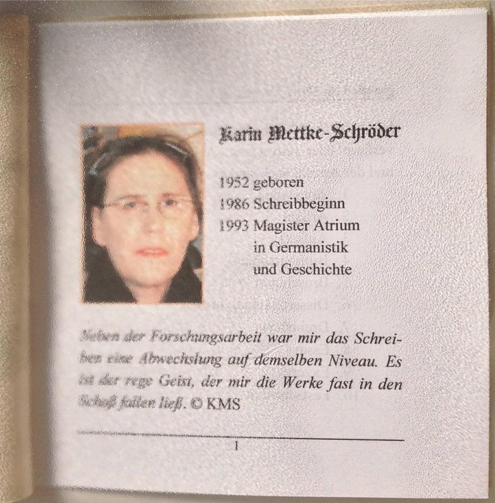 Karin Mettke-Schröder/Autoreninformation/Nanobook Nr. 12/2009/Seite 1