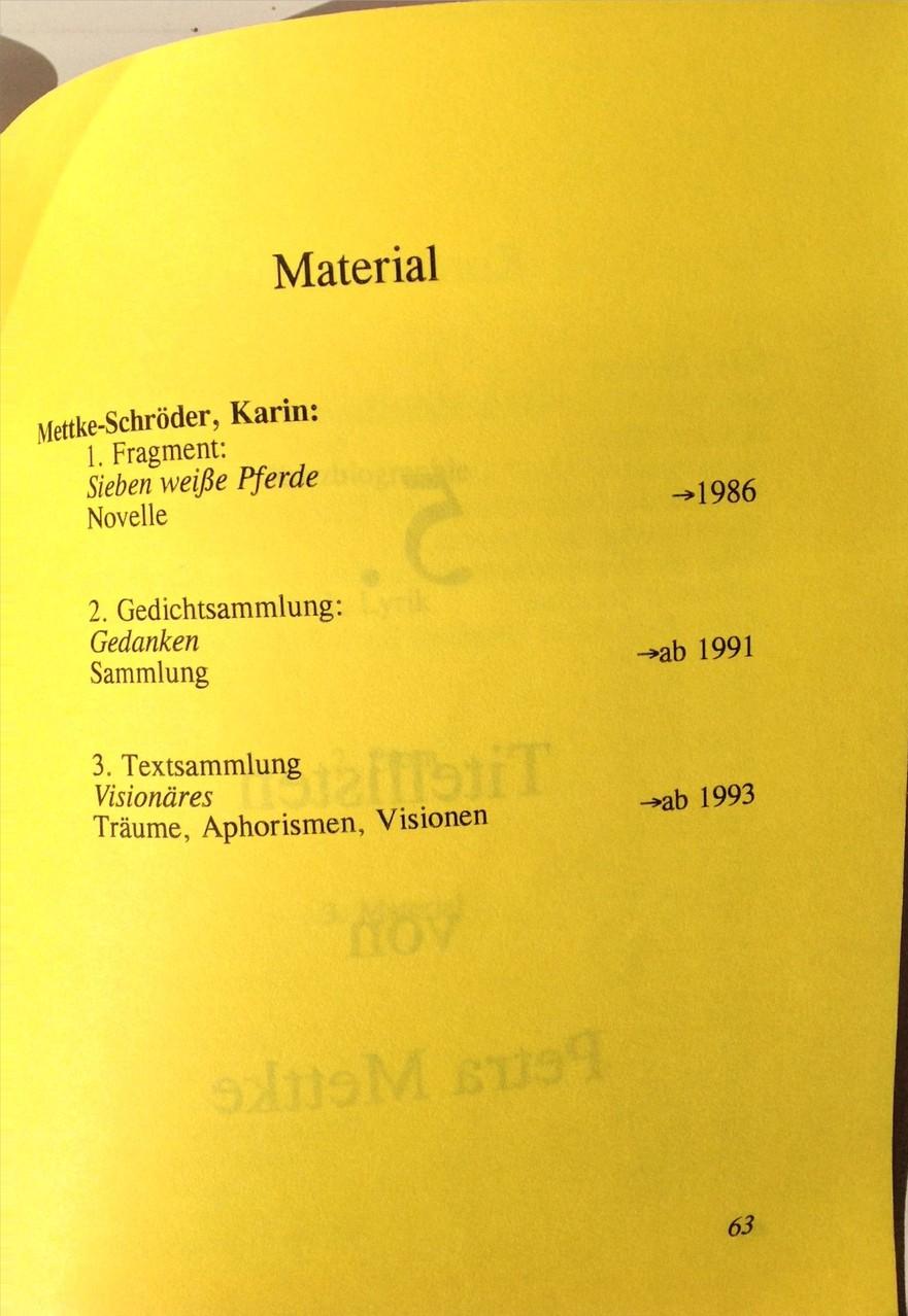 Petra Mettke, Karin Mettke-Schröder/Bibliographie first decade/Originalfassung/1999/Seite 63