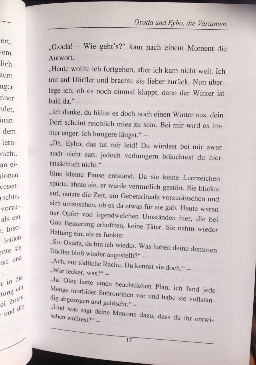 Karin Mettke-Schröder, Petra Mettke/Oxada und Eybo/Roman/Druckskript/2005/Seite 17