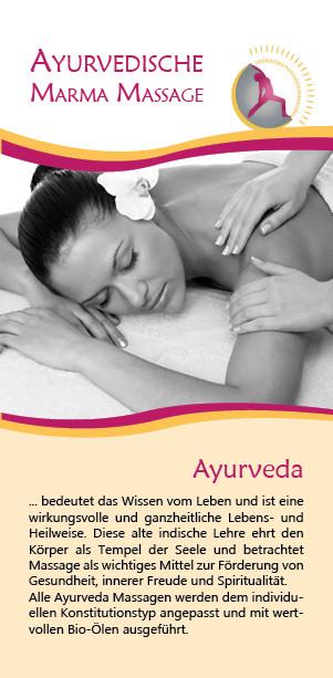 Folder/Flyer/Karte Ayurveda für Yoga Moers von Werbeagentur blickpunkte design