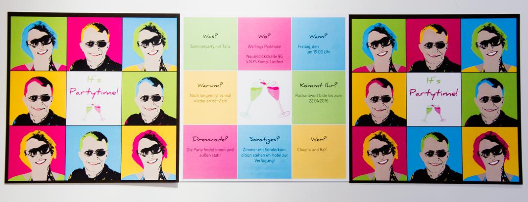 Einladungskarte, Pop-Art Style, Vor- und Rückseite,