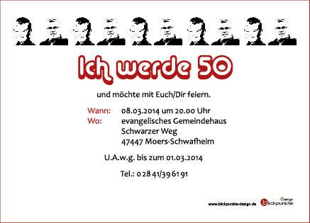 """Einladungskarte zum runden Geburtstag Thema """"Pop Art"""" hinten"""