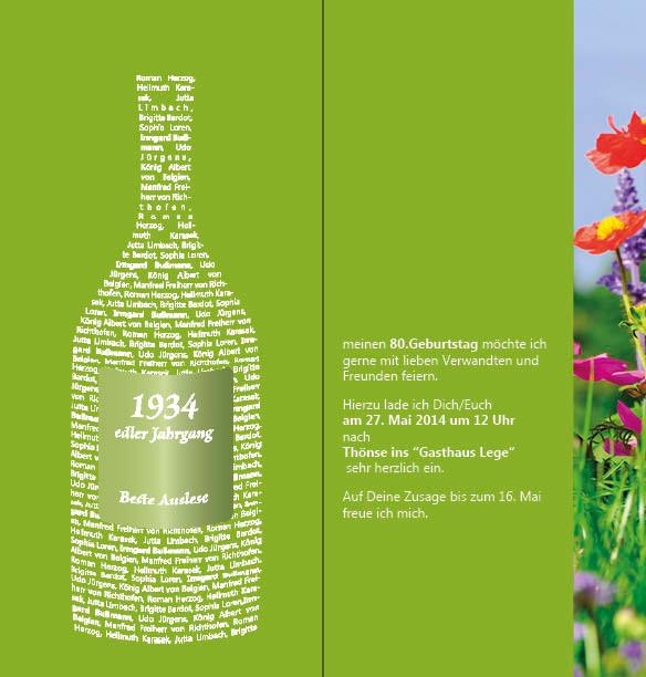 """persönliche Einladungskarte 80. Geburtstag Thema """"Blumenwiese"""" IAußenseite"""