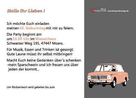 """50. Geburtstag Einladungskarte Thema """"BMW"""" Rückseite"""