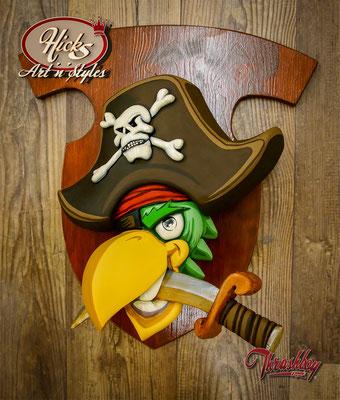 Road Pirates CC, Belgien, Logo Schild 3D geschnitzt, Formenbau, Resin Gegossen, Bemalung