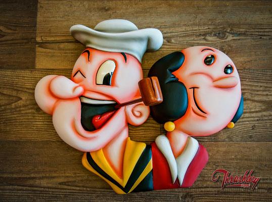 Popeye & Olivia, geschnitzt, Bemalung. Wandbild 3d Relief nach Kundenwunsch