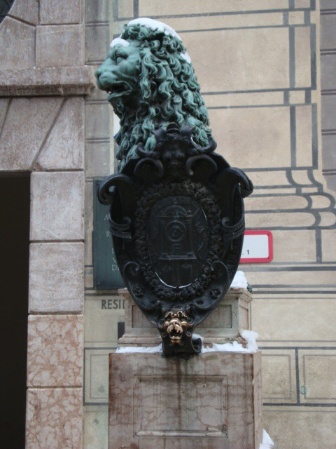 A Lion Statue in front of the Residenz