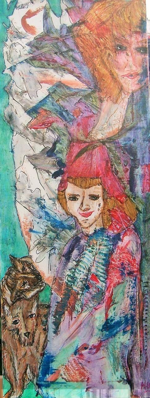 Dame mit Pagen 2006, Mischtechnik/Leinwand, 30x80 cm