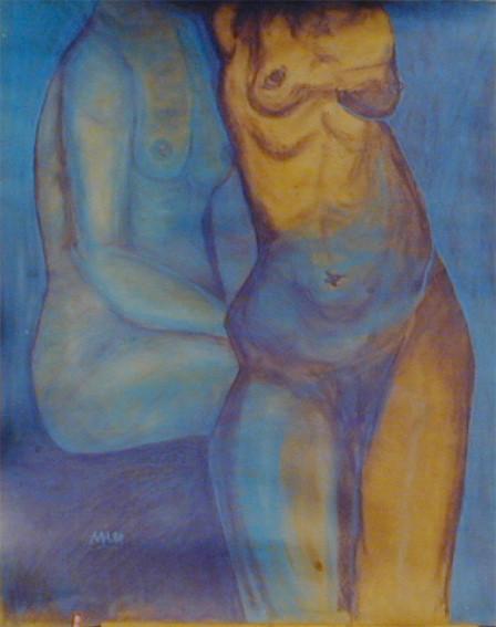 Säulenheilig, 1999, Pastellkreide/Karton, 76 x 99 cm