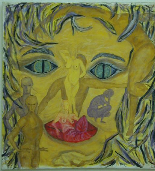 Menschengesicht, 1998, Guttatechnik/Seide, 83 x 90 cm