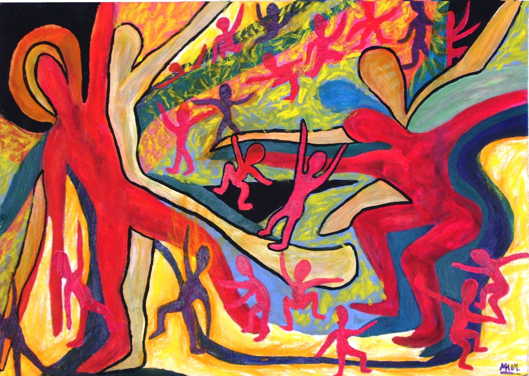 Massenbewegung  2004 , Guache/Karton, 90x64 cm