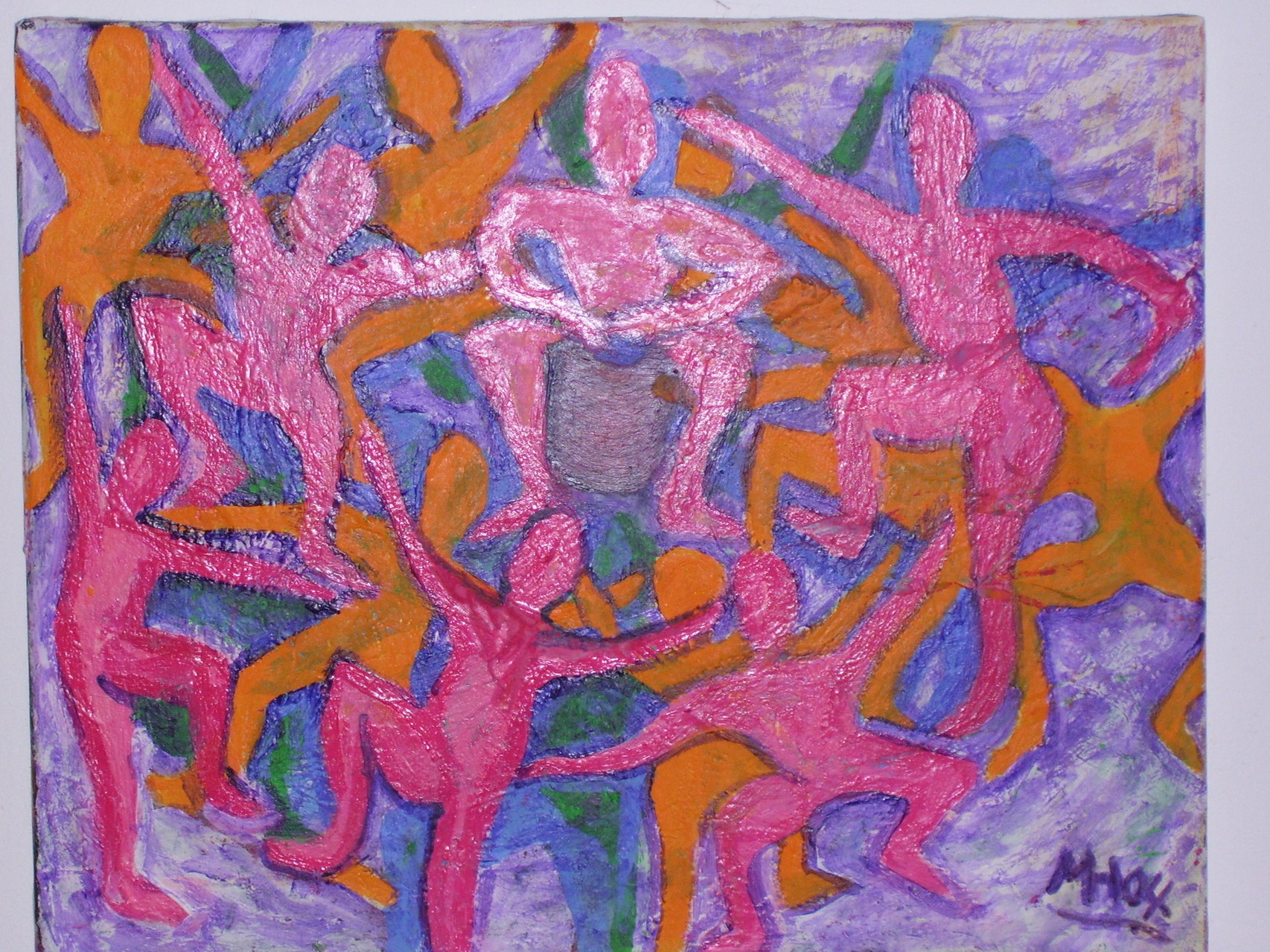 Trommeltanz  2004 , Guache/Leinwand, 50x40 cm