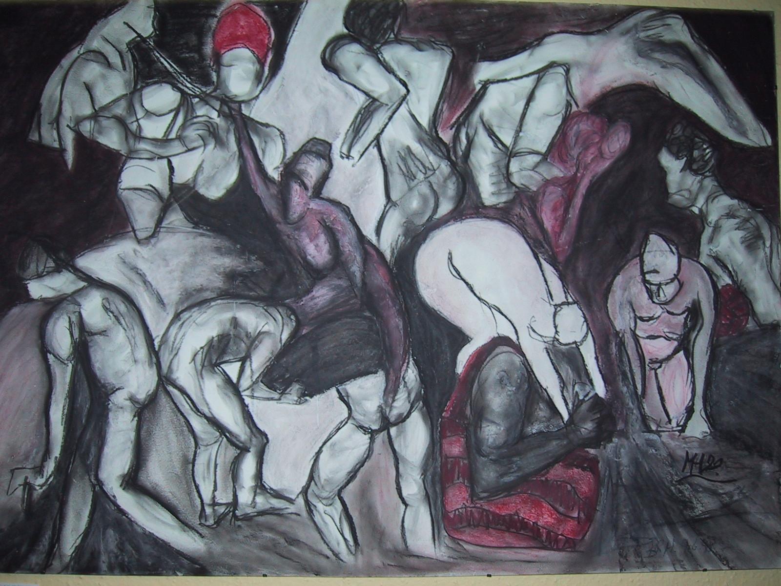 Die rote Tasche, 1998,  Pastellkreide/Karton, 100 x 70 cm