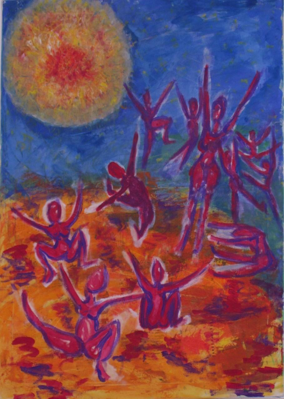 Sonnentanz  2004 , Guache/Leinwand, 70x100 cm