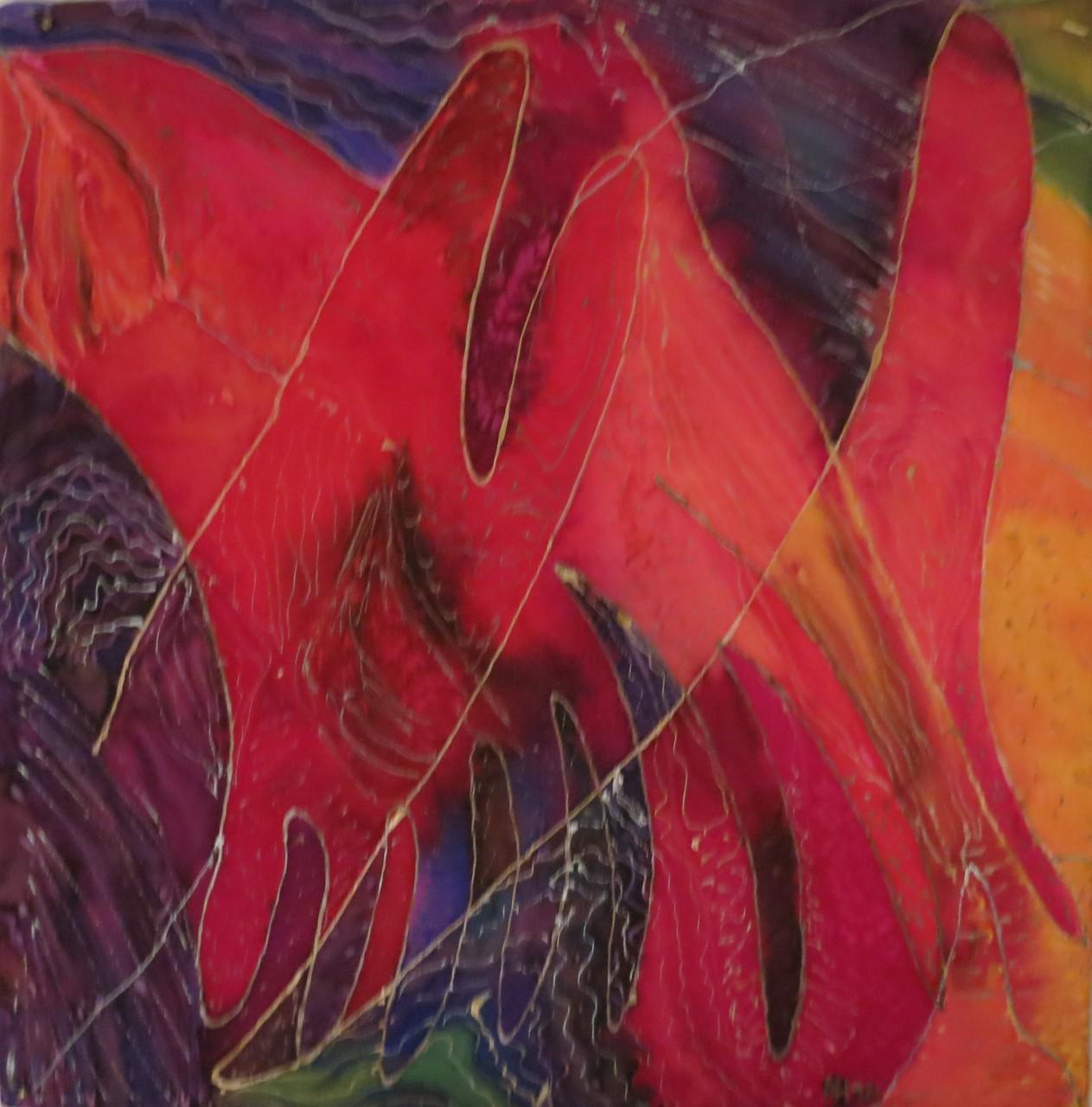 In Meditation  1998 , Guttatechnik/Seide, 47x45 cm