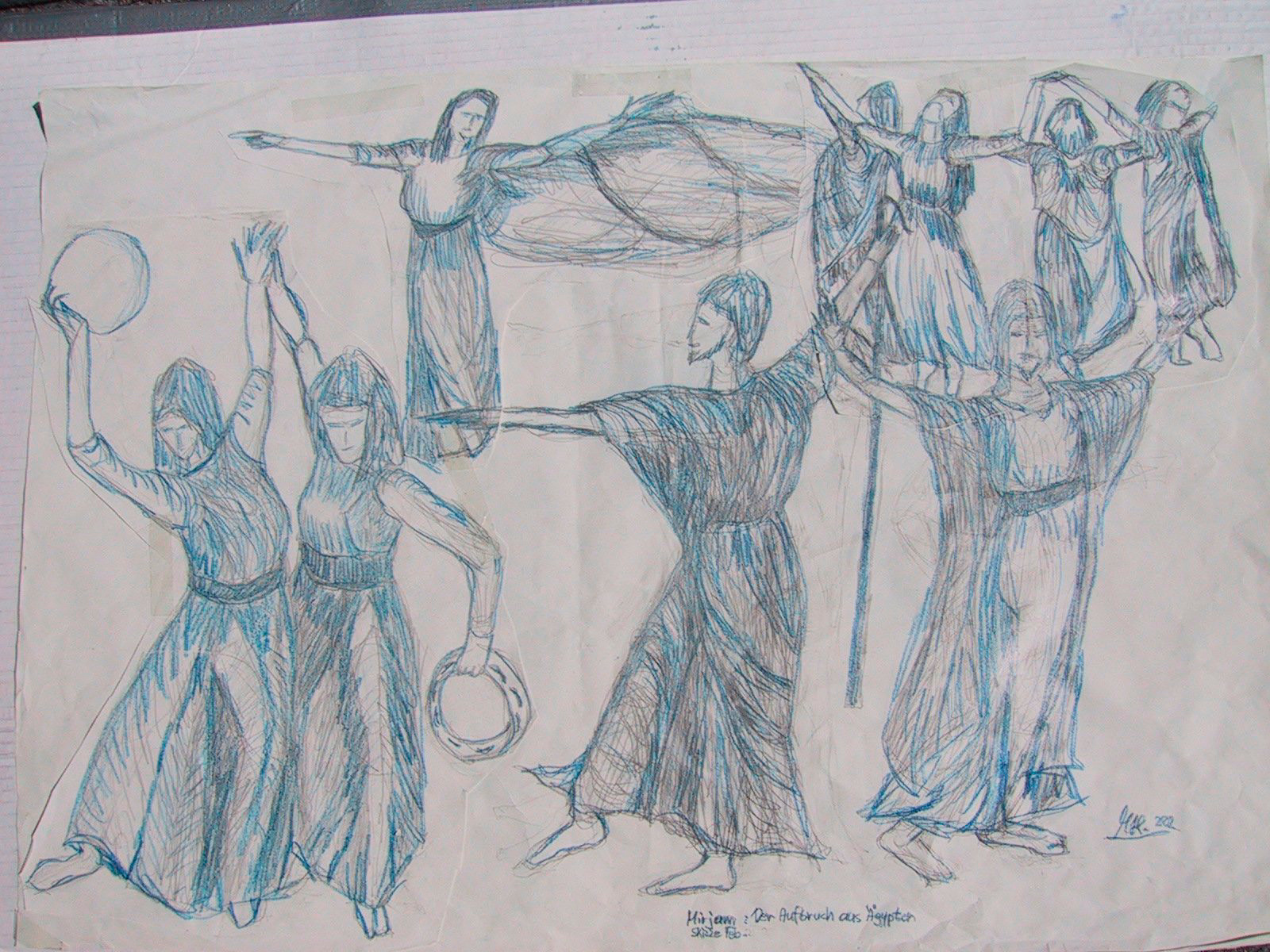 Bibel-Miriam tanzt-Skizze