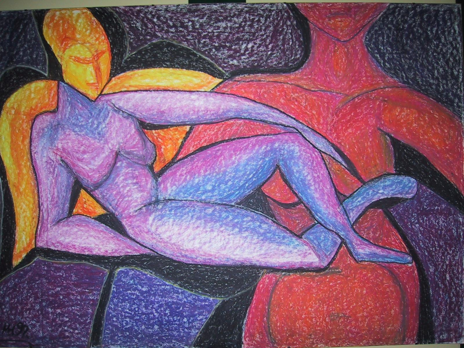 Aufgerichtet, 1999, Wachskreide/Karton, 100 x 70 cm