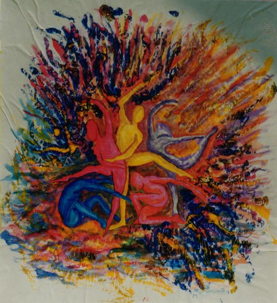 Menschenstern 2, 1998, Guache/Karton, 54 x 55 cm