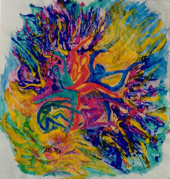 Menschenstern 1, 1998, Guache/Karton, 56 x 60 cm