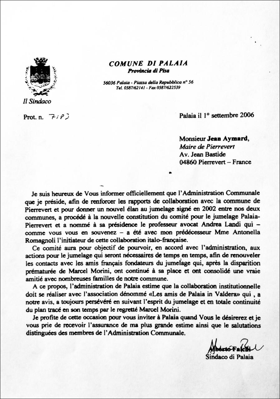 La reconnaissance officielle de Palaia