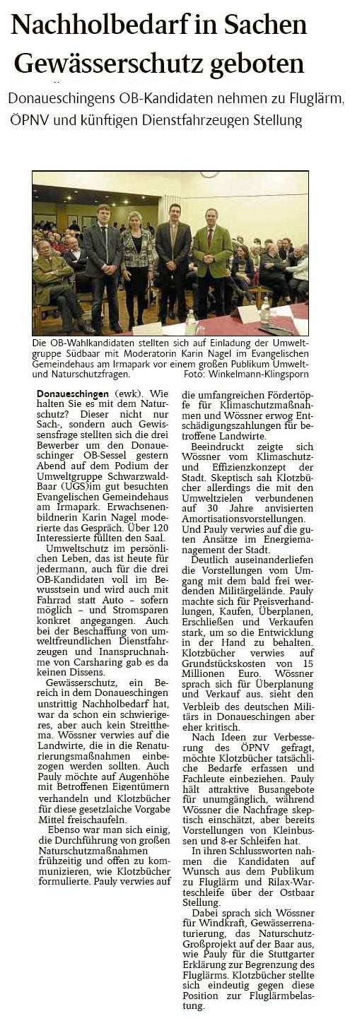 Schwarzwälder Bote 9.1.2014
