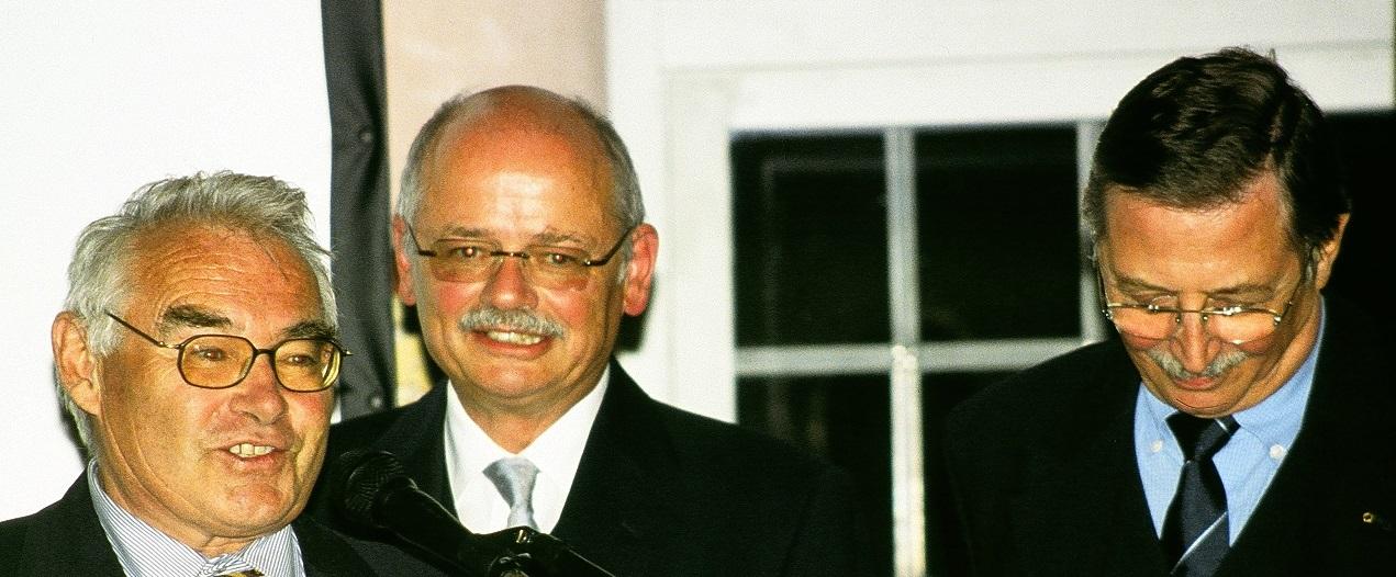 Prof. Dieter Schuöcker, Prof. Manfred Geiger and Prof. Werner Jüptner during LANE 2004 (from left to right)