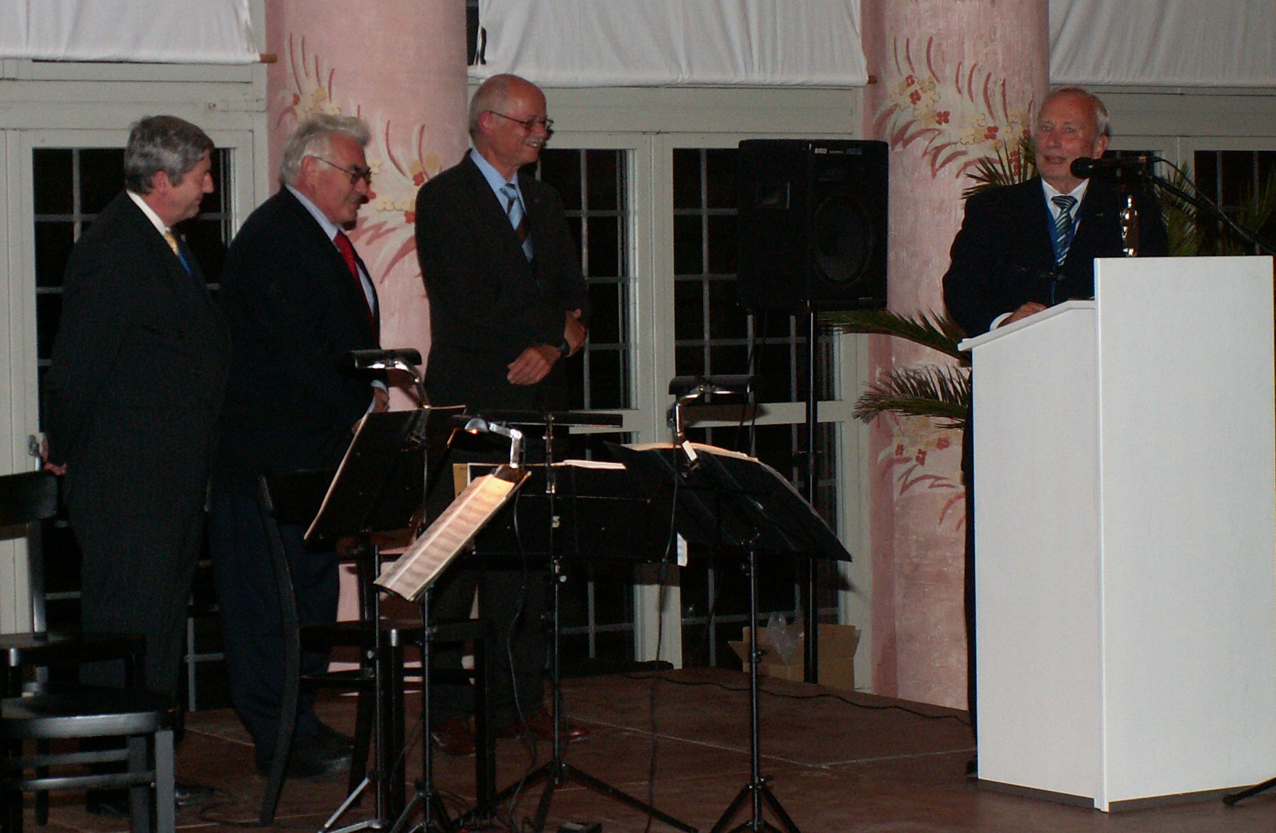 Prof. Jean-Pierre Kruth, Prof. Dieter Schuöcker and Prof. Geiger with the Knight of Laser Technology 2007: Hans Kurt Tönshoff (from left to right)