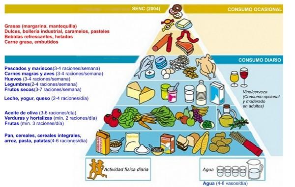 Pirámide alimentaria propuesta en 2004 para la población española (fuente: Sociedad Española de Nutrición Comunitaria).