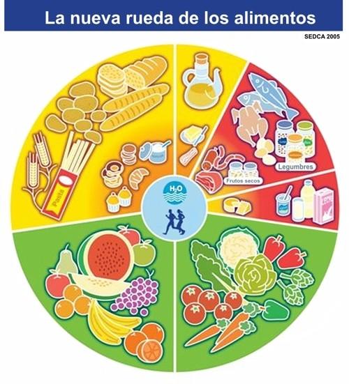 Rueda alimentaria modificada en 2005 y propuesta para la población española por la Sociedad Española de Dietética y Ciencias de la Alimentación.