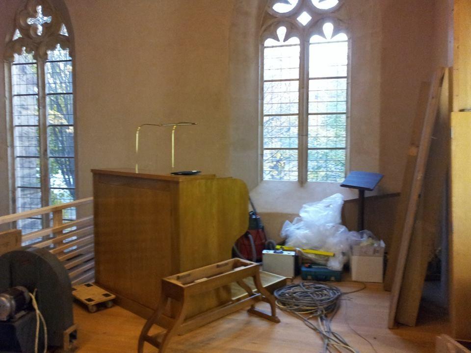 Am 13.11.2013 beginnt der Aufbau der gebrauchten Steinmeyer Orgel von 1938