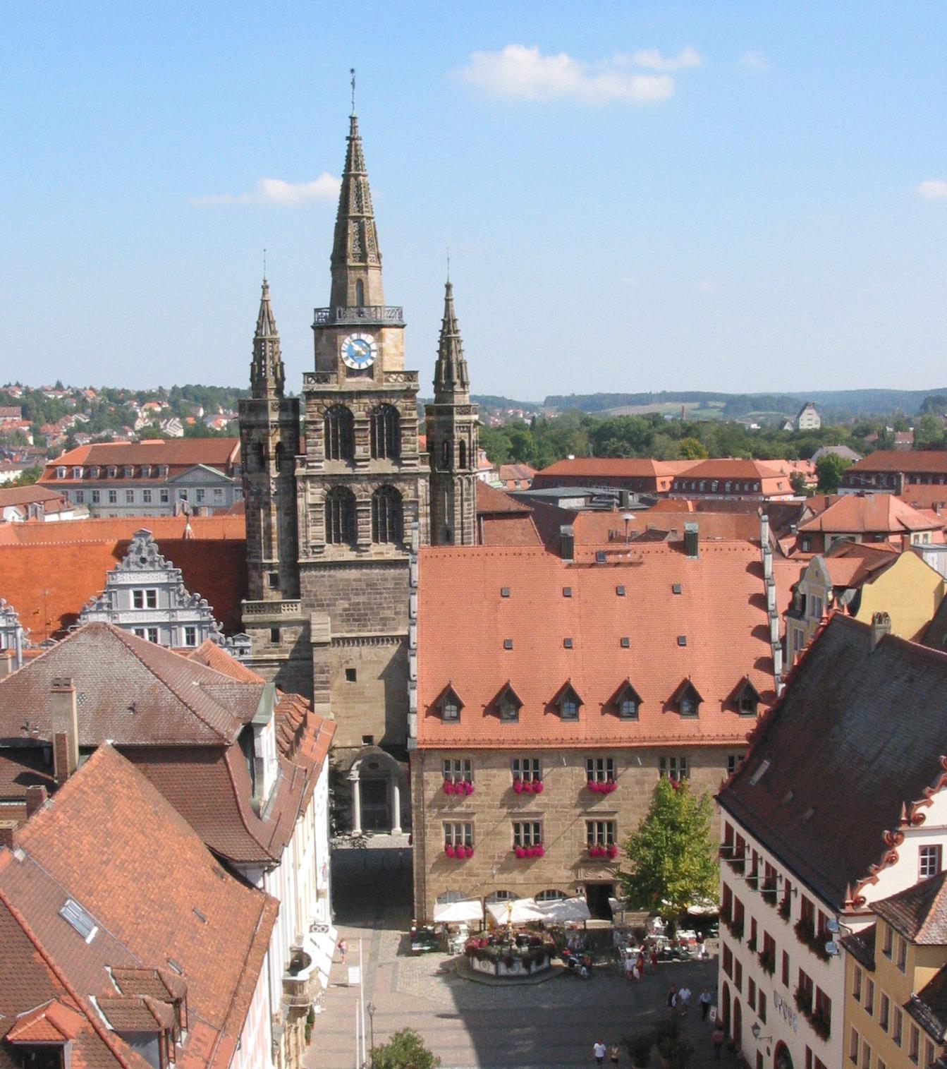 Blick auf St.-Gumbertus-Kirche Ansbach