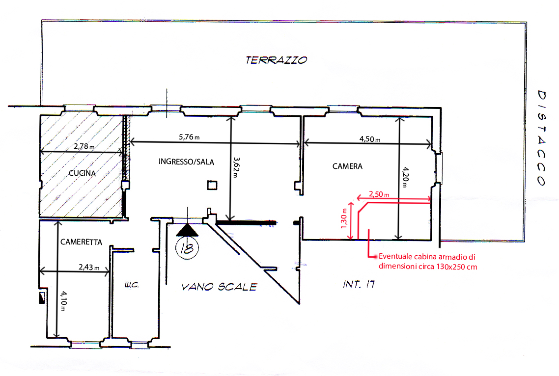 Casa 80 Mq Pianta progettazione d'interni - chiodo fisso interior design