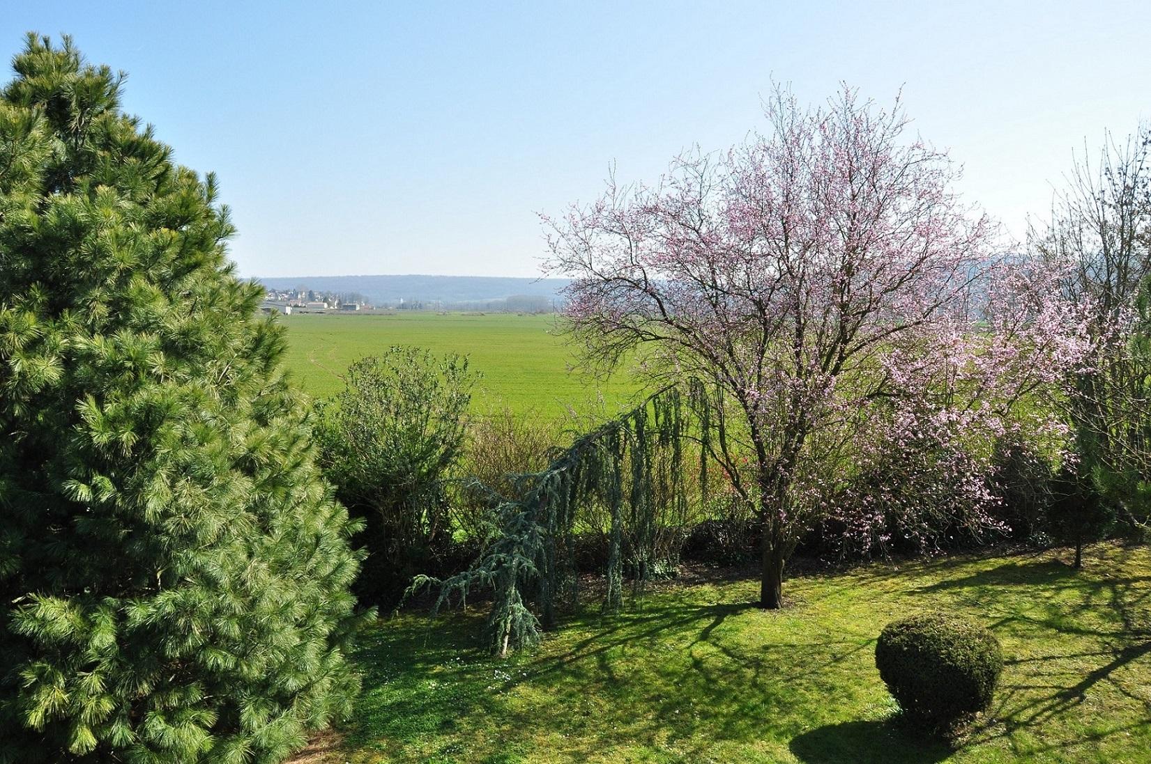 vue sur la vallée depuis le jardin paysager