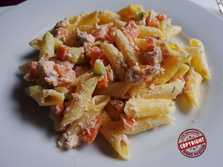 recette pâtes aux légumes saumon sans gluten sans oeuf