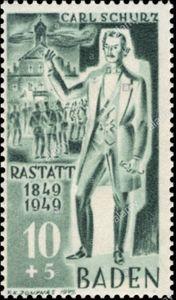 Carl Schurz auf einer Briefmarke der Französischen Besatzungszone von 1949