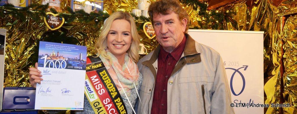 Miss Sachsen 2015 alias Josephin Frenzel und Karl Detlef Mai im Verein Leipzig 2015 e.V. für das Stadtjubiläum aktiv.