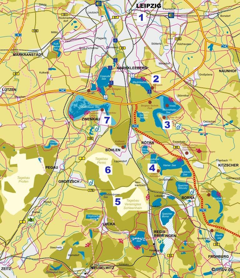 Ausschnitt aus der Karte der LMBV mbH mit den Stationen der PHÖNIX-TOUR ORIGINAL