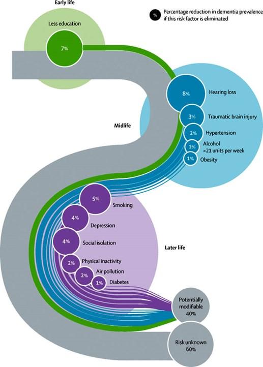 Figura 1. Fracción poblacional atribuible de factores de riesgo de demencia potencialmente modificables.  Reimpreso de la Comisión Lancet sobre Demencia con permiso de Elsevier.