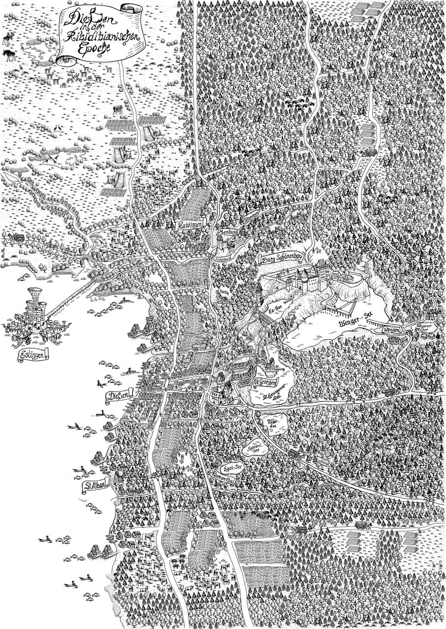 Ammersee – Geographische Darstellung des frühmittelalterlichen Marktes Dießen am Ammersee nach der Besiedelung der Ribidibs