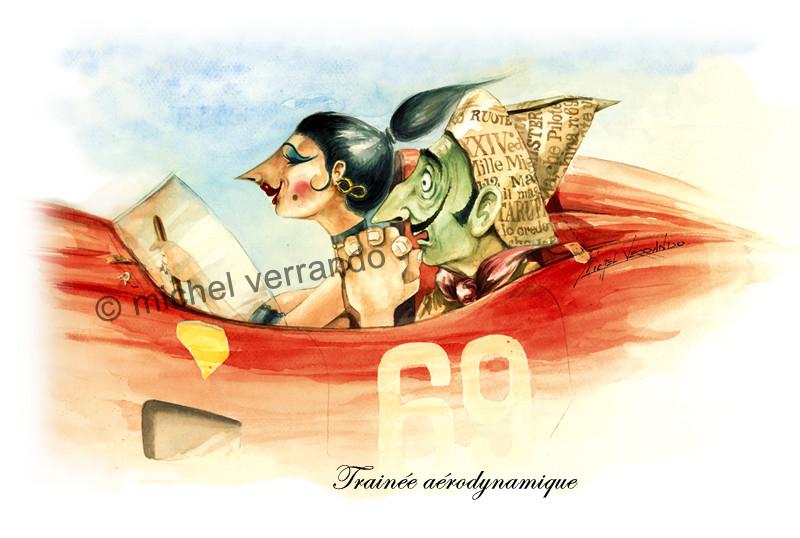 Trainée aérodynamique Gouache 50X40cm