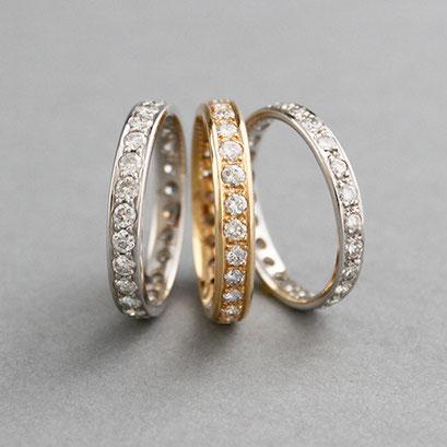 Memoire Ringe, 585er oder 750er Weiß- oder Roségold ,Steingröße und Qualität variabel, Preis auf Anfrage