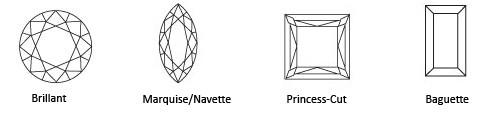 Diese vier Schliffe sind die gängigsten Varianten. Zusätzlich gibt es noch eine Tropfen- und Herzform.