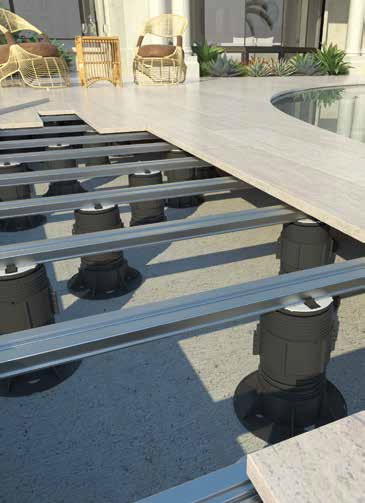 einfaches verlegen mit dem schienensystem f r stelzlager. Black Bedroom Furniture Sets. Home Design Ideas