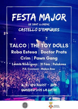 Live-Konzerte am 8., 9. + 10.8.2019 ab 23 Uhr vor der Mehrzweckhalle in Castelló d'Empuries, Eintritt gratis