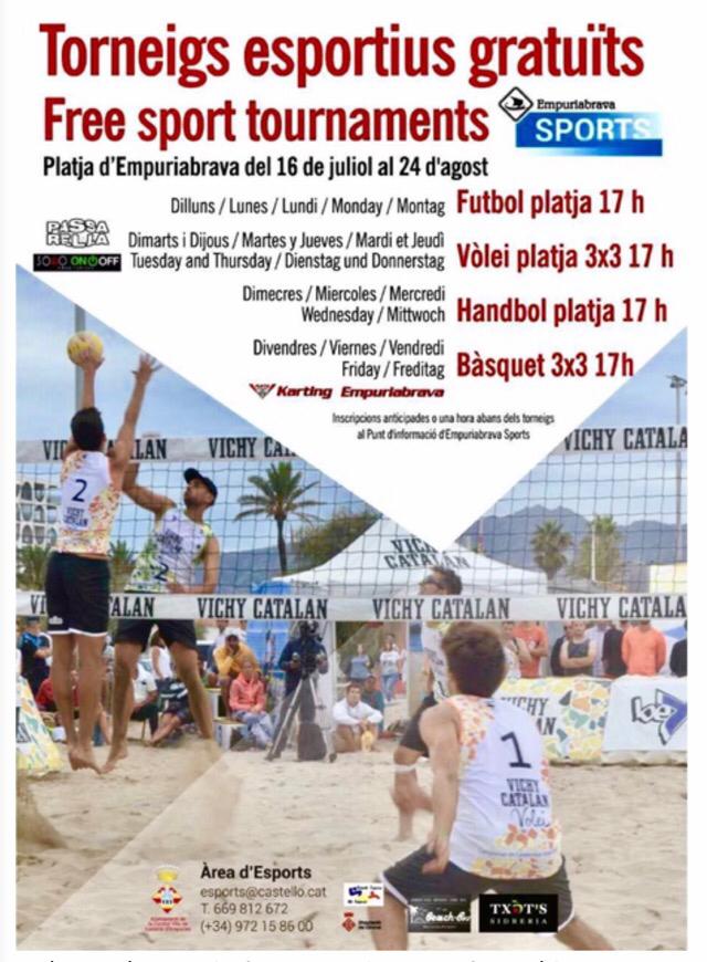 Jede Woche gratis Sport-Turniere am Strand in Empuriabrava- vom 16. Juli bis 24. August 2018
