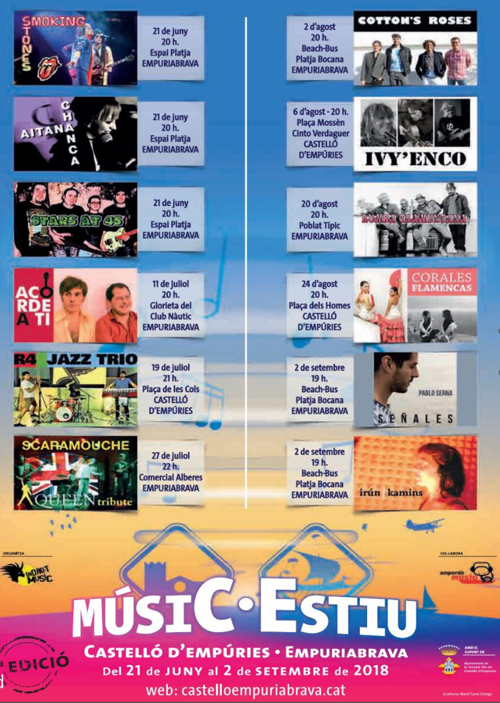 Konzertveranstaltungen in Empuriabrava und Castelló d'Empúries vom 21.6. bis zum 2.9.2018