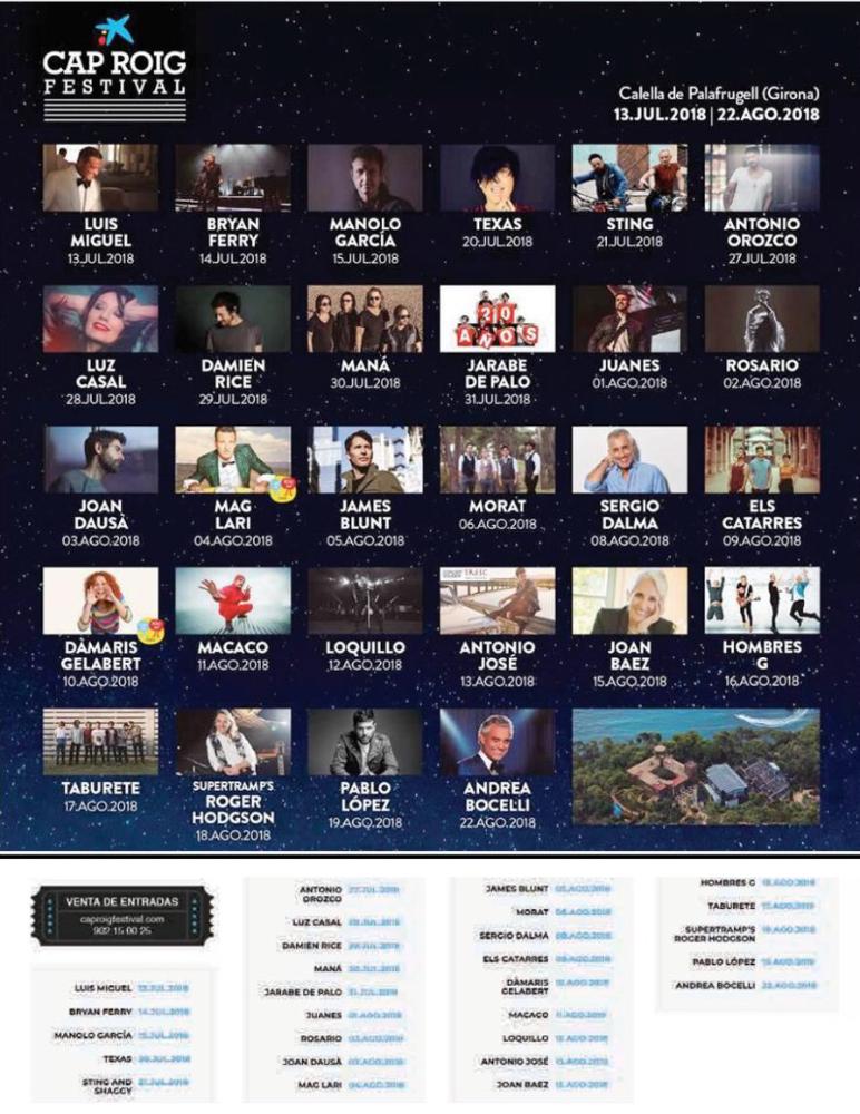 Cap Roig Musikfestival vom 13.7. bis 22.8.2018