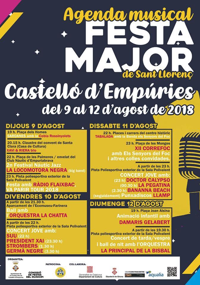 "Musik-Programm der ""Festa Major"" 9.-12.8.2018 in Castelló d'Empúries"