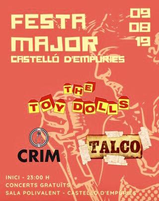 """Gratis Konzert der englischen Punk-Band """"The Toy Dolls"""" in der Polyvalenten Halle von Castelló d'Empúries am 9.8.2019 ab ca. 23 Uhr"""