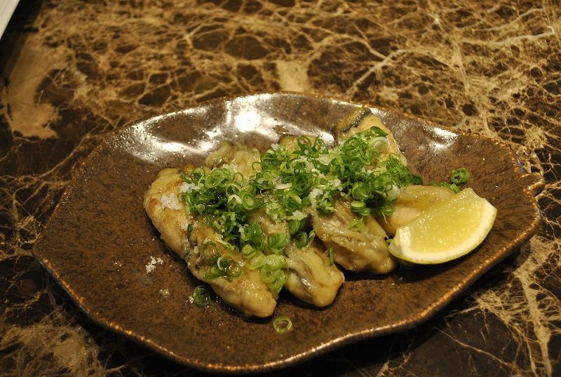 「すし若」笠原さんの「牡蠣の塩葱オリーブオイルソテー」